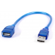 CBL-USB-AMF3 : USB 2.0 Type A Female to Type A Male Extension Cable Lead Blue 30cm