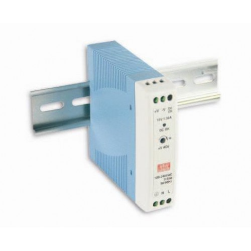 PSU-MDR-20-12 : 20W Single Out Industrial DIN Rail PSU. 12VDC @ 1.67A